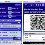 United Airlines boarding pass with QR code